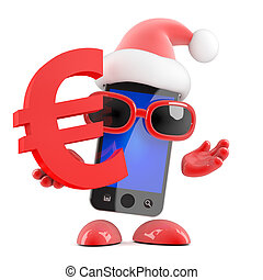 3d Santa smartphone holds Euro currency symbol