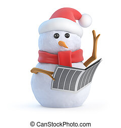 3d Santa snowman reads the newspaper