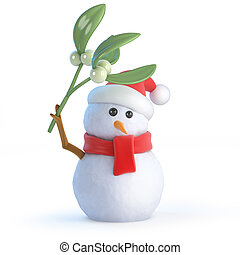 3d Santa snowman with mistletoe - 3d render of a snowman...