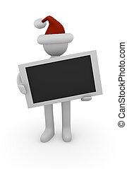 3d Santa with a blank sign