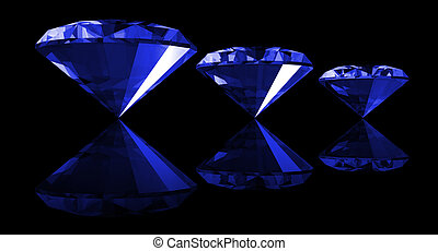 3d Sapphire Gem Isolated