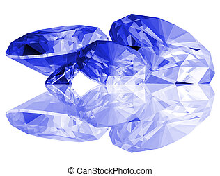 3d Sapphire Gems Isolated