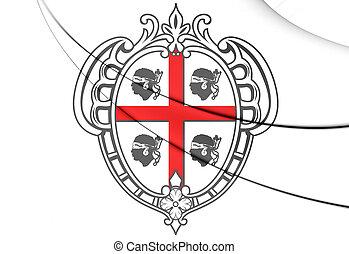3D Sardinia Coat of Arms, Italy. Close Up.