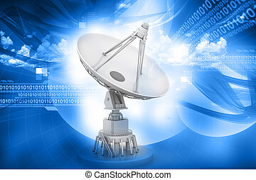 Satellite dish transmission data on abstract background - 3d...