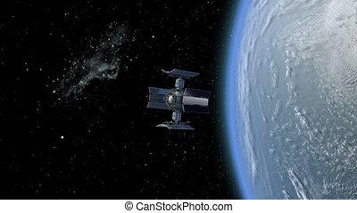 3d, satellite, station, animation, espace
