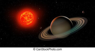 3d saturn with sun
