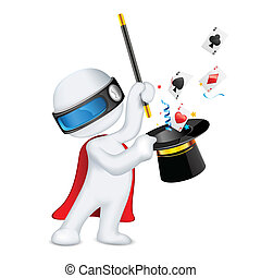 illustration of 3d magician in vector fully scalable showing magical trick