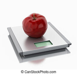 3d Scales and apple. Diet concept.