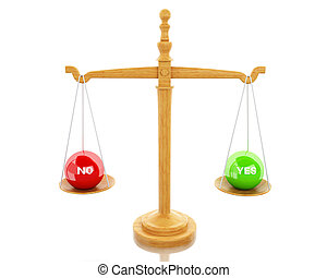 3d Scales Balance between yes and no.