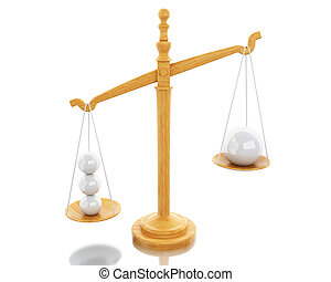 3d Scales Balance with white spheres.