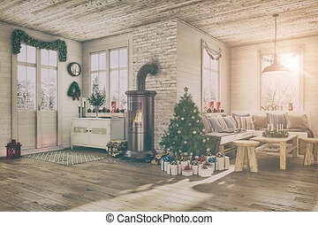 3d - scandinavian flat - christmas