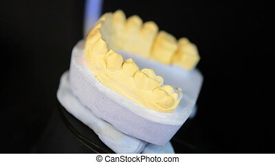 3D Scanning a model of human teeth close-up