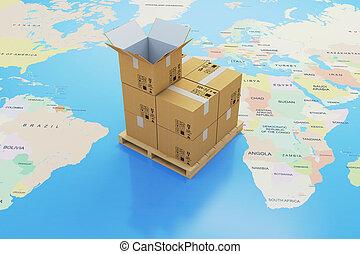 3d, scatole cartone, e, mappa mondo, globale, consegna, spedizione marittima, concetto