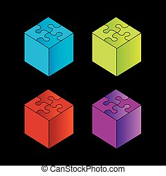 3d, scatole, con, puzzle, tetto
