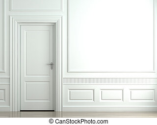 white classic wall with door - 3d scene of a white classic...