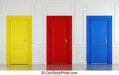 three color doors - 3d scene with three color doors in a ...
