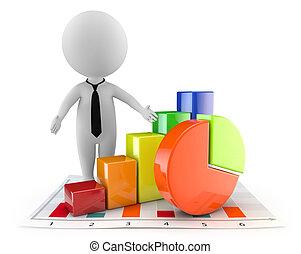 3d, schattig, mensen, -, financieel, document, en, grafiek
