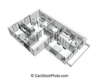 3d, schets, van, een, four-room, flat