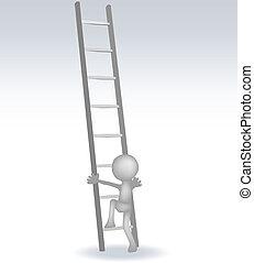 3d, schody, człowiek