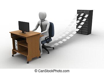 3d, schreiber, arbeitende , in, büro
