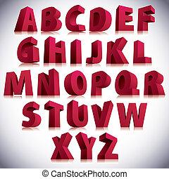3d, schriftart, groß, rotes , briefe, standing.