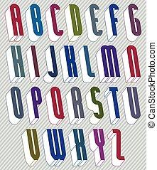 3d, schriftart, mit, guten, stil, einfache , geformt, briefe, alphabet.