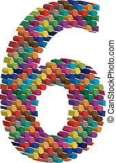 3d, schriftart, zählen 6