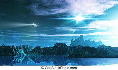 3D science fiction landscape - 3D render of a science...