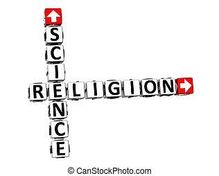 3d, science, ou, religion, sur, blanc, arrière-plan.