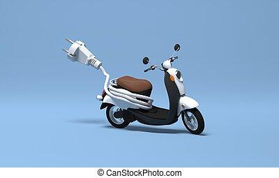 3d, scooter électrique, rendre, bannière