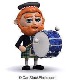 3d Scotsman bangs the drum