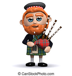 3d Scotsman plays bagpipes - 3d render of a Scotsman playing...