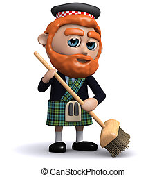 3d Scotsman sweeping with a broom
