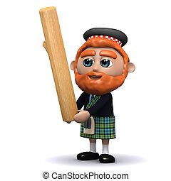 3d Scotsman tosses the caber