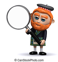 3d Scotsman with a magnifying glass
