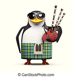 3d Scottish penguin with bagpipes