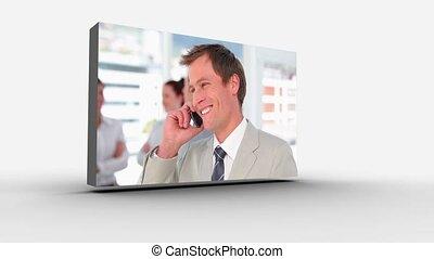 3d screens displaying business peop