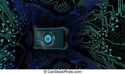 3D screens showing computing scene
