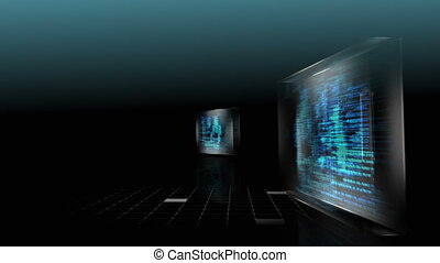 3D screens showing computing scenes with digital key and man...