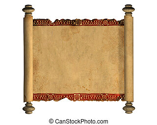 3d scroll of old parchment - Scroll of old parchment. Object...