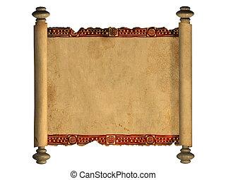 3d scroll of old parchment - Scroll of old parchment. Object...