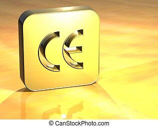 3d, señal, comunidad, oro, europeo