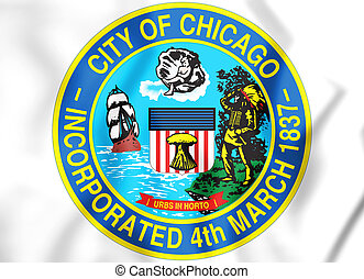 3D Seal of Chicago (Illinois), USA.