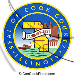 3D Seal of Cook County (Illinois), USA. 3D Illustration.