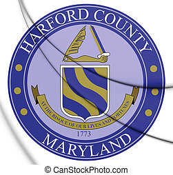 3D Seal of Harford County (Maryland), USA. 3D Illustration.