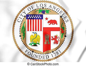 3D Seal of Los Angeles (California), USA.