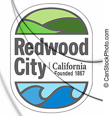 3D Seal of Redwood City (California), USA. 3D Illustration.