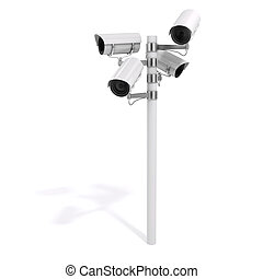 3d security cameras on white background