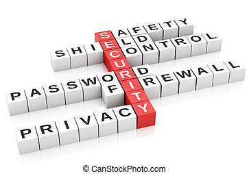 3d security Crossword. - 3d image. Security concept....