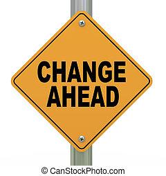 3d, segno strada, cambiamento, avanti
